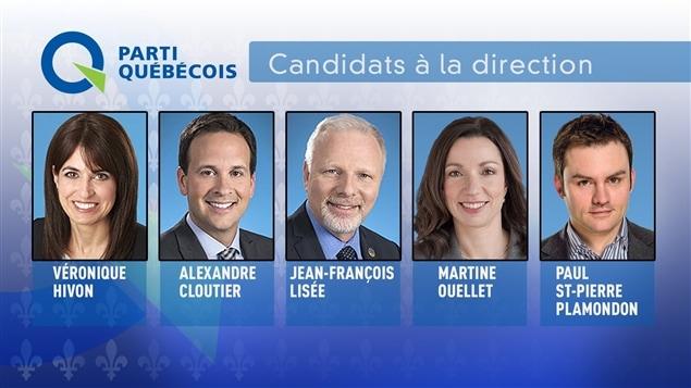 Les cinq candidats � la course � la direction du Parti qu�b�cois