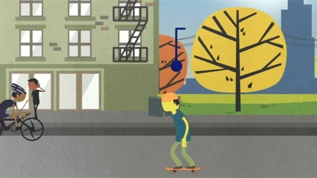 A new study finds that quality of life in Canada differs significantly depending on where you live. People in Alberta have the best, people in Nunavut have the worst. We see a picture that resembles a high-class animation film. We see a boy on a skateboard the right walking toward the left of the picture. Heading in the other direction is boy riding a racing bike. Behind him walking a dog. They are set against a cartoonish yellow tree and brown and green building.