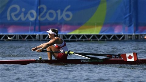 La rameuse canadienne Carling Zeeman en action à Rio