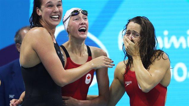 Trois de nos athlètes à Rio. Chantal Van Landeghem, Taylor Ruck et Sandrine Mainville. Même ces athlètes canadiens qui récoltent des médailles en arrachent financièrement s'ils compétitionnent dans un sport moins connu.