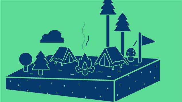Image dessinée d'une tente, de sapins et d'un feu.