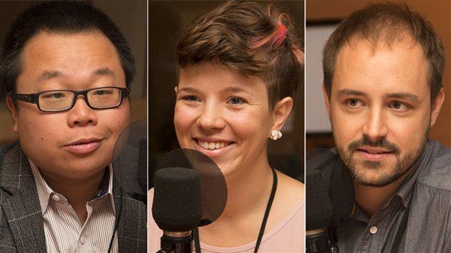 Les jeunes entrepreneurs Xavier Peich, Geneviève Beguin et Winston Chan