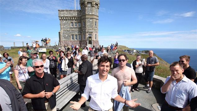 Prime Minister Justin Trudeau was touring the Atlantic provinces when he was photobombed by shirtless comedian Mark Critch.