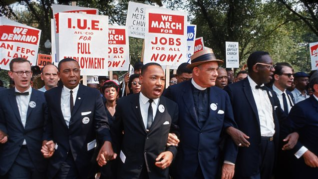 Martin Luther King lors d'une manifestation le 28 août 1963