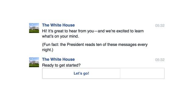 Le début de conversation du robot conversationnel de la page Facebook de la Maison-Blanche