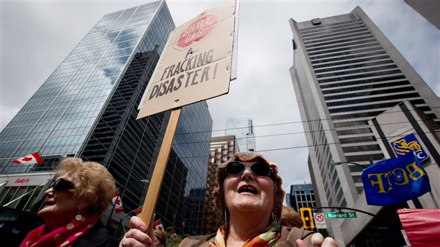 Protesters worried about the effects of fracking marched in the western city of Vancouver on May 23, 2014.