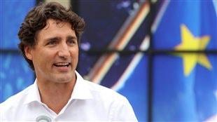 Justin Trudeau lors de la fête nationale des Acadiens à Caraquet le 15 juillet 2016