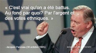 Le premier ministre du Québec, Jacques Parizeau, lors de son discours le soir du référendum sur la souvereaineté.Crédit photo : PC/Ryan Remiorz