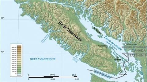 L'île de Vancouver fait 4 fois la Corse en superficie et est habitée seulement au sud, dans la région de Victoria, la capitale de la Colombie-Britannique – United States Geological Survey