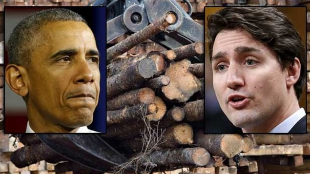 Can Barack Obama and Justin Trudeau finally solve the long-running Canada-U.S. softwood lumber dispute. Don't hold your breath. We have a montage shot with the heads of Obama (on the left) and Trudeau superimposed over a great hunk of lumber.