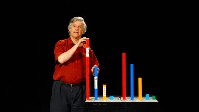 Daniel Green d�montre les r�sultats de la proportionnelle avec des Lego