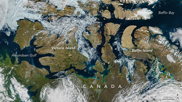 The Visible Infrared Imaging Radiometer Suite (VIIRS) on the Suomi NPP satellite captured this image of the Northwest Passage on August 9, 2016. A path of open water can be traced almost the entire distance from the Amundsen Gulf to Baffin Bay, encountering a scattering of broken ice just east of Victoria Island.