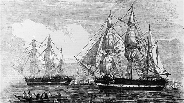 HMS Erebus and HMS Terror, shown in the Illustrated London News published on May 24, 1845, left England that year under the command of Sir John Franklin and in the search of the Northwest Passage