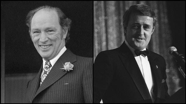 Les ex-premiers ministres Pierre Elliott Trudeau et Brian Mulroney