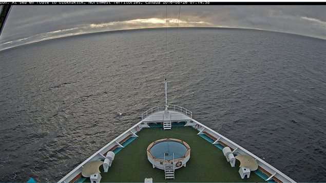 Actual view from the bridge of the ship this morning at 07;15. The ship is now about halfway across the top of Canada