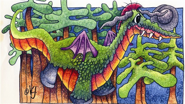 Another example of Karon Argue's work, a whimsical, brightly coloured dragon in a pine forest.