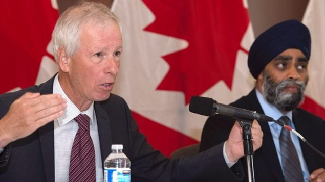 The commitment announced Friday by Foreign Affairs Minister Stephane Dion, left, Defence Minister Harjit Sajjan and other ministers, officially puts the United Nations on notice that Canada is ready to jump back into peacekeeping.