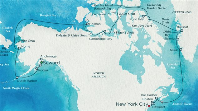 The route plan for the 32-day Crystal Cruises Northwest Passage trip from Alaska to New York City