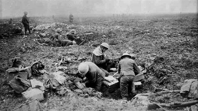 Canadian machine gunners dug in shell holes in Vimy advance, April, 1917. This was taken after the Canadians had captured the ridge and were now digging and and consolidating against likely counter-attacks to come . Note how no trees or even bushes remain on the shattered landscape