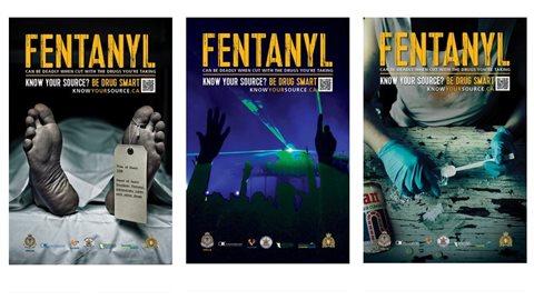 Affiches de la campagne de sensibilisation contre le fentanyl lancée par la Colombie-Britannique.Crédit photo : knowyoursource.ca