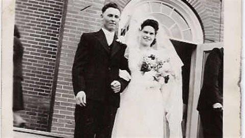 Alfred et Cécile Parent, le jour de leur mariage en 1946.
