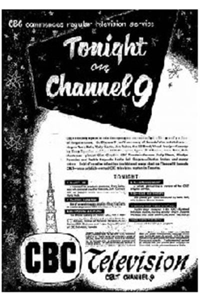 Advertisement in the Toronto Star newspaper of Sept.08, 1952 announcing the start of Canadian TV (in English) from station CBLT, in Toronto and nearby surrnouding areas of Ontario.