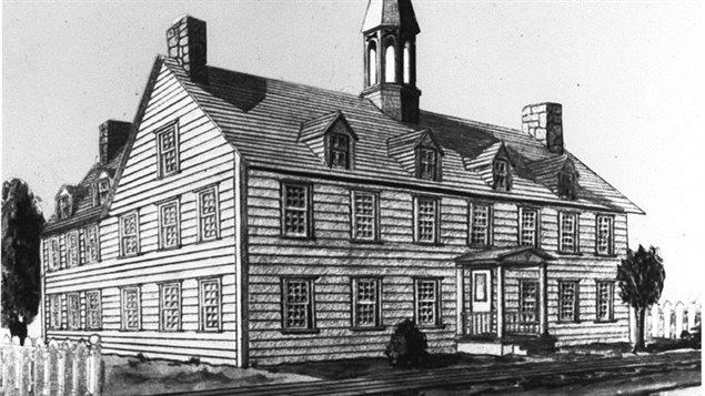 Dessin du premier édifice occupé par le Collège de Bytown, rue Guigues, à Ottawa.