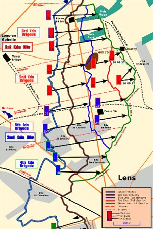 Map of Battle of Hill 70. Loos-en-Gohelle is a small town in the upper left of the map. Hill 70 is the brown oval shape. City of Lens is lower right. Once the hill had been taken, the battle of Lens began