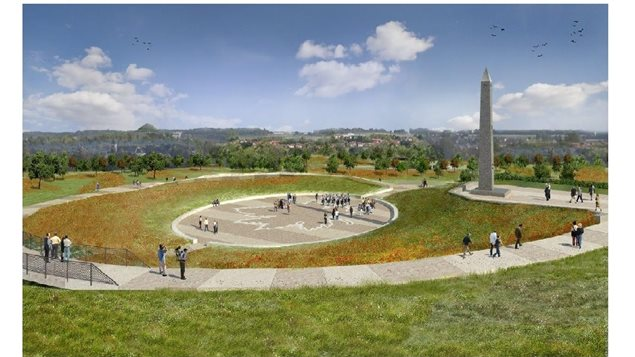 Artist concept of the Hill 70 obelisk and memorial park, between the cities of Loos and Lens in France