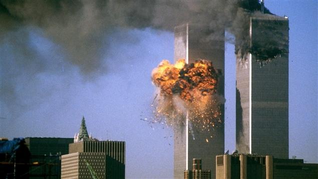 Vue des tours du World Trade Center au matin du 11 septembre 2001