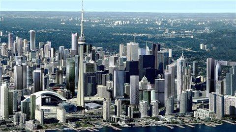 Ceux qui n'ont pas visité Toronto depuis trois ou quatre ans tombent facilement à la renverse à l'entrée de la ville dont les grandes autoroutes à 16 ou 18 voies sont balisées par des forêts d'édifices à condominiums qui s'étalent à perte de vue. C'est le Dubaï de l'Amérique du Nord, mais en version plus ouverte sur l'extérieur avec plus de la moitié des gens provenant d'un autre pays. Photo : CP