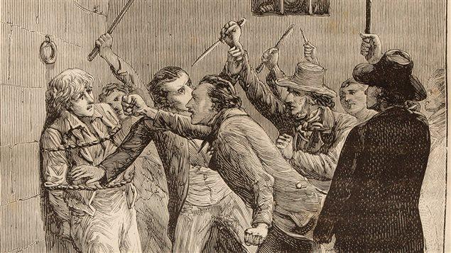 Assassinat de William Morgan, détail d'une gravure de Pierre Méjanel