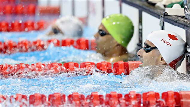 Benoit Huot en demi-finales du 100 m dos à Rio