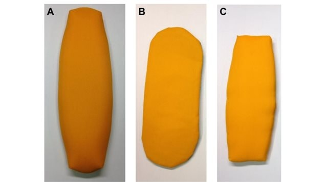 A) Standard oval head, B) icePad head, C)-LightSpeed head...all with Nylon Oxford 420D material, which was found perform as to WCF standards. NRC testing found certain mateirals, textures, inserts, even colour, had a very dramatic effect in altering rock trajectory, and are now deemed unacceptable for competitions