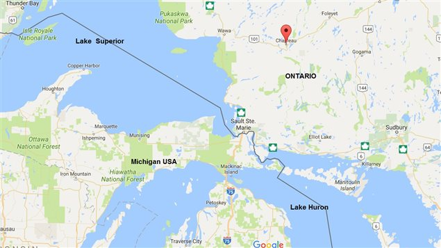 Red balloon indicates the town of Chapleau, in northern Ontario.