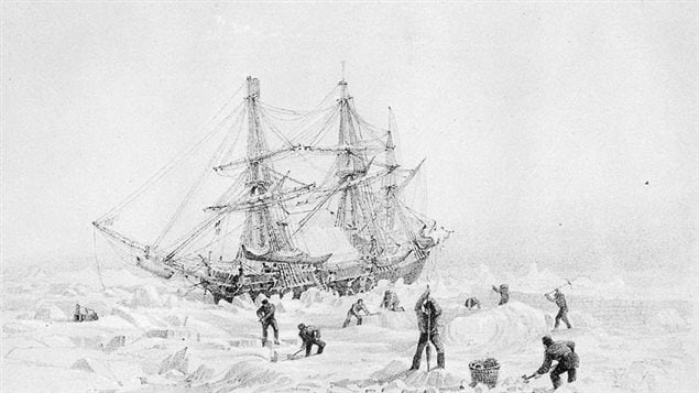 Engraving of a drawing by Captain George Back of HMS Terror frozen in Arctic ice during his trip in 1836-37 some ten years before Franklin's mission also with Terror.
