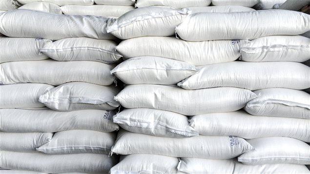 Pile de sacs de sucre