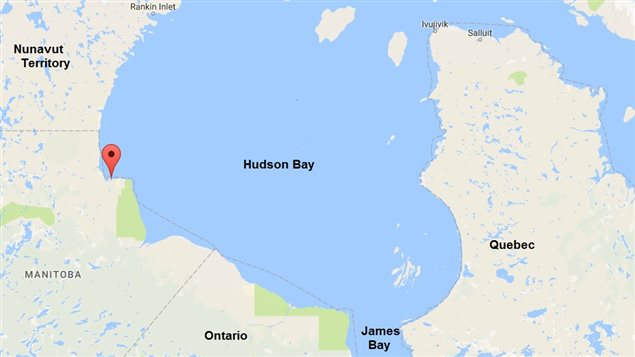 Red balloon indicates the town of Churchill Manitoba