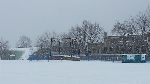 The bandstand in January of this year.fenced off but no work being done.