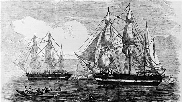 Les deux navires de l'expédition de Sir John Franklin.