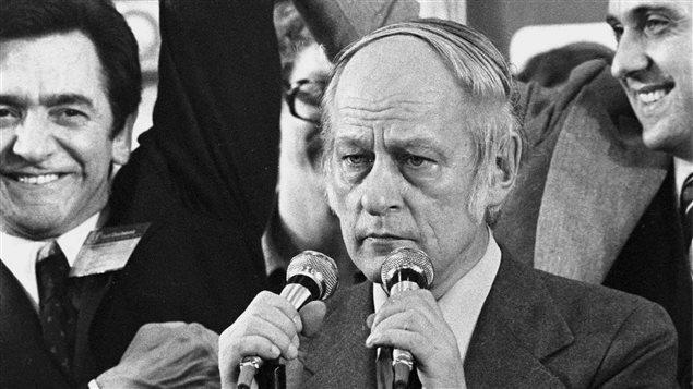 René Lévesque au moment de son discours de victoire du 15 novembre 1976