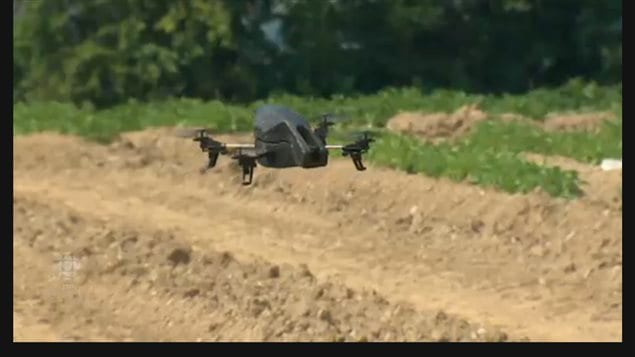 A Canadian made drone (Resson) being used to analyze a potato crop in New Brunswick. The drone captures  massive amounts of data from soil moisture to plant health. It can identify specific plants or areas that need attention saving time, resources, materials and costs, a more efficient method of farming