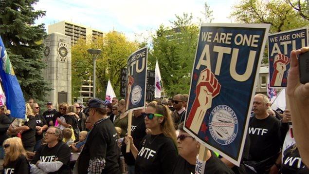 تظاهرة لنقابة عمال النقل في ساسكاتون في غرب كندا في أيلول (سبتمبر) 2016.