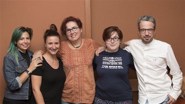 Cassie Rhéaume, Catherine Mathys, Nadia Seraiocco, Geneviève Lajeunesse et Matthieu Dugal.