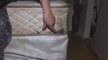 Ce matelas est infesté de punaises de lit.
