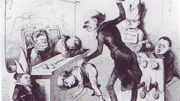 Une illustration d'un enseignant qui frappe un élève dans une classe.