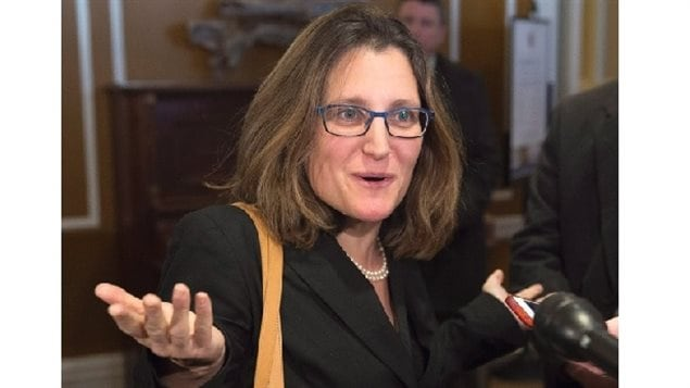 Trade Minister Freeland was told by the Prime Minister to get an agreement with the EU in time for the Canada-Eu summit in October and as push-back against anti-globalization groups.