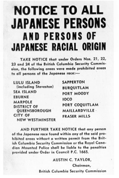 Poster announcing exclusion zones for ethnic Japanese along the BC coastal area