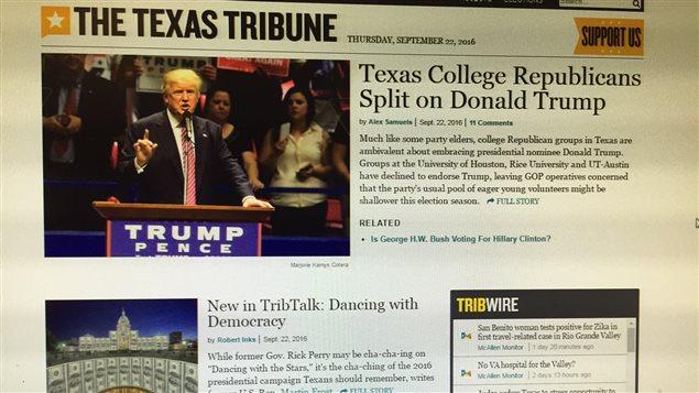 La une du Texas Tribune