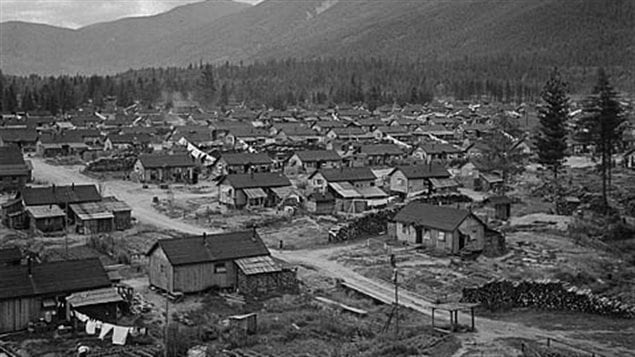 An internment camp for Japanese Canadians in the British Columbia interior, 1945